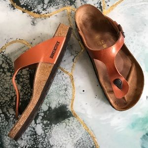 Birkenstock gizeh metallic orange sandals size 40